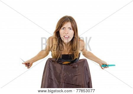 Disappointed Female Hairdresser With Comb And Scissors Waiting