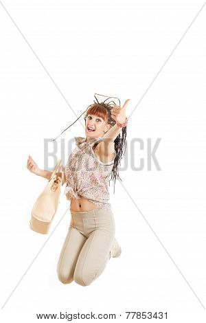 Girl Jumping With Female Bag With Thumb Up Of Joy Excited