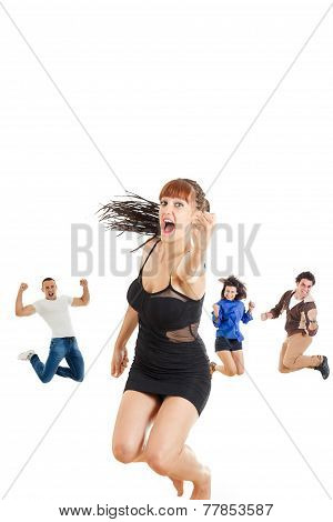 Glamour Woman In Dark Dress Or Girl Jumping  With Fist Up