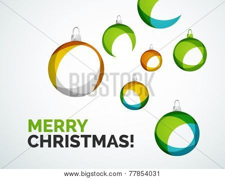 Merry Christmas card - abstract ball, bauble modern abstract overlapping shapes design
