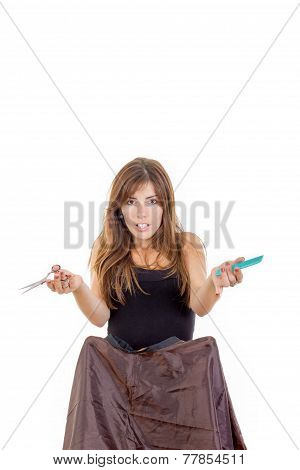 Surprised Woman Hairdresser With Comb And Scissors Waiting