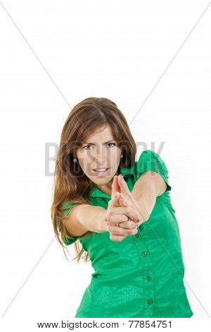 Woman With Seductive Look Making With Hands Fingers Sign Like Shooting
