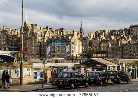 Taxis Parked In Edinburgh, Scotland
