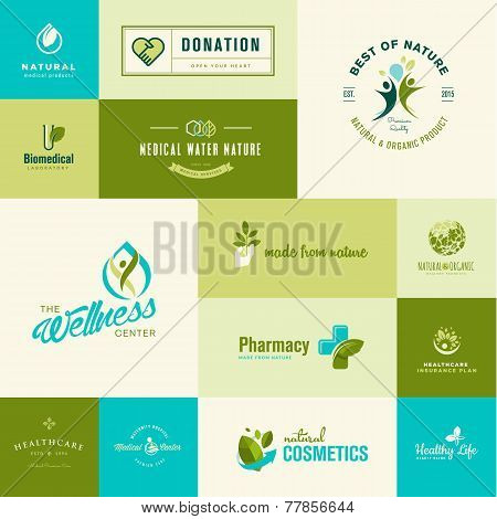 Set of modern flat design nature and healthcare icons