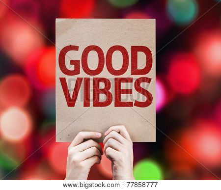 Good Vibes card with colorful background with defocused lights