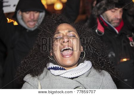 Female protester chanting