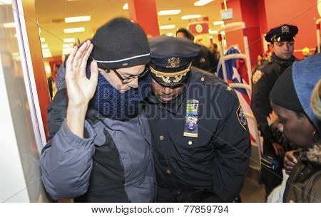 Deputy NYPD chief with protester