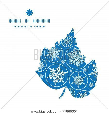 Vector falling snowflakes leaf silhouette pattern frame