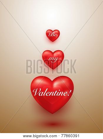 Shiny red hearts valentine background