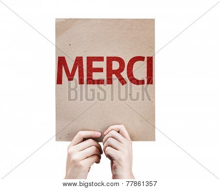 Thank You (In French) card isolated on white background