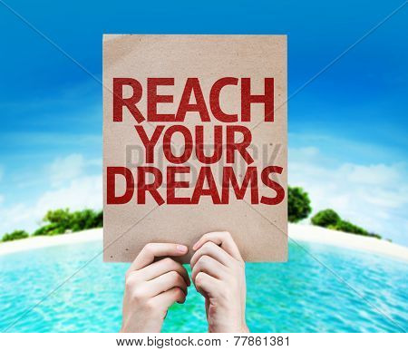 Reach Your Dreams card with a beach on background