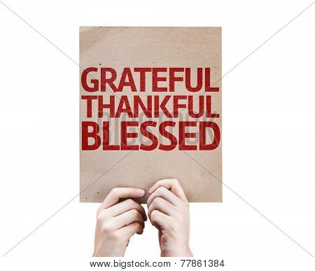 Grateful Thankful Blessed card isolated on white background