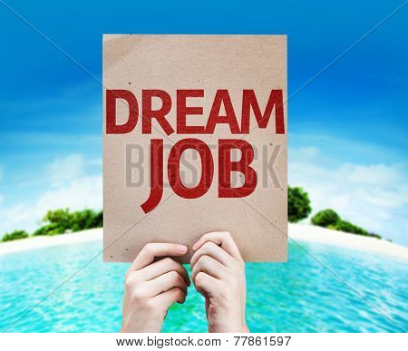 Dream Job card with a beach on background