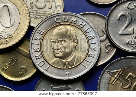 Coins of Turkey. Mustafa Kemal Ataturk depicted in the Turkish lira coins.