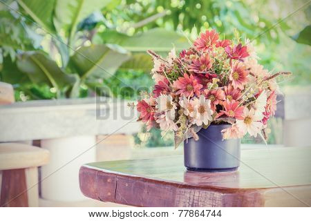 Flowers Bouquet On Woo Table