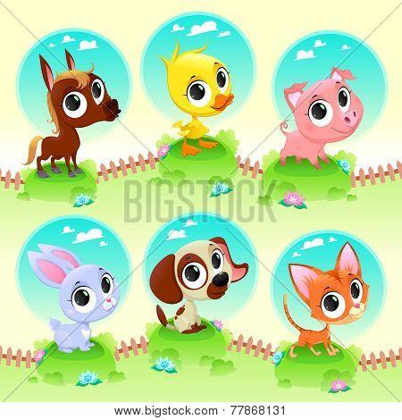 Cute farm animals. Vector cartoon illustration