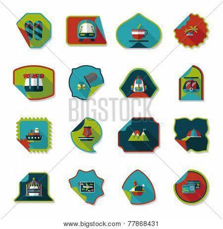 Travel Sticker Flat Banner Background Set, Eps10