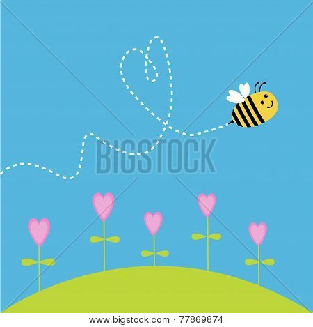 Flying Bee. Dash Heart In The Sky. Card