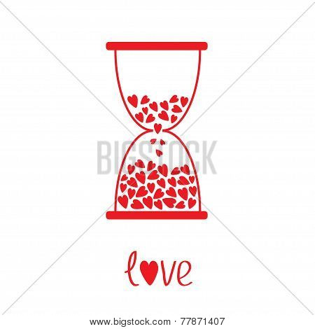 Love Hourglass With Hearts Inside. Card
