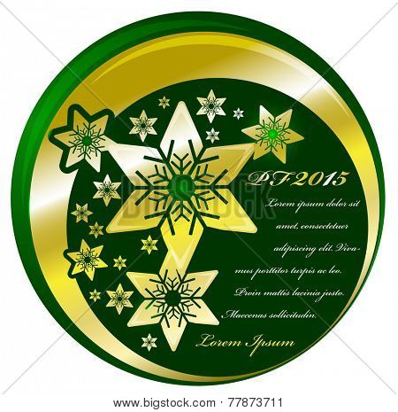 Abstract vector green Christmas background with gold stars and place for text