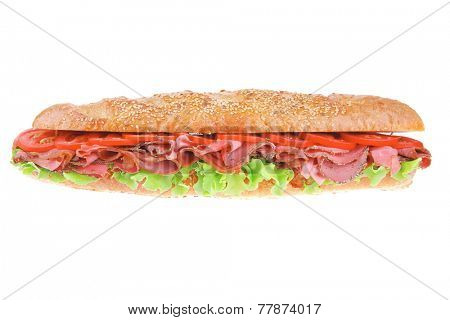 french sandwich : long baguette with smoked chicken sausage isolated on white background
