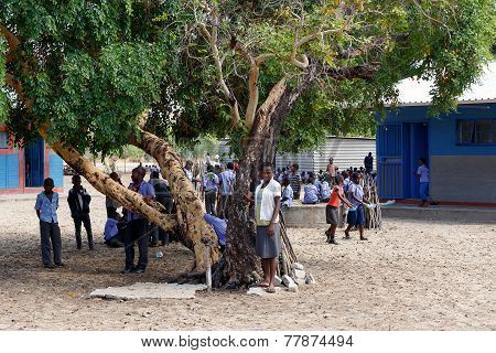 Happy Namibian School Children Waiting For A Lesson.