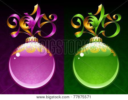 Christmas and New Year circle frame. Vector ribbon in the shape of 2015 and glass ball. Purple and green