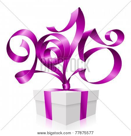 Vector purple ribbon in the shape of 2015 and gift box. Symbol of New Year