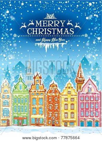 Christmas and New Year holidays card with snowy town