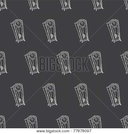 Vector doodle hand drawn floor watch seamless pattern in sketch style