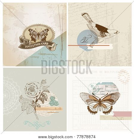 Scrapbook Design Elements - Vintage Paper Set - in vector