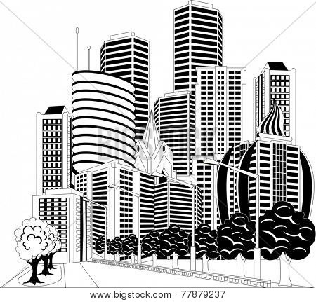 Black and white ilustration of a street in downtown with office buildings