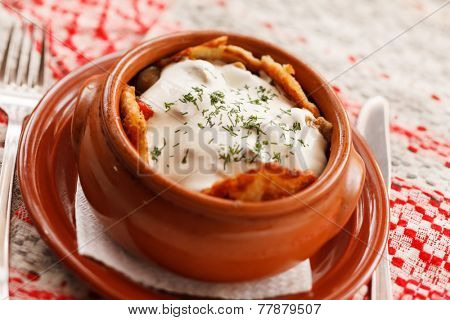 potato pancakes in the pot (national belorussian food)