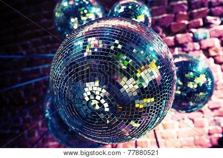 Colorful Disco Party Background With Mirror Balls