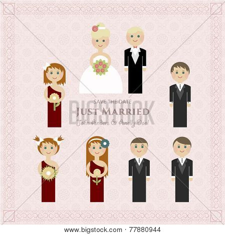 Wedding invitation flat. Guests flat background. Invitation for bridesmaids. Wedding Card Invitation