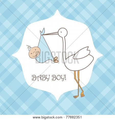 Baby boy announcement arrival card. Baby shower card with stork and boy. Vector illustration