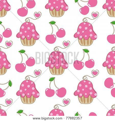 Cupcake retro seamless pattern with cute cake and heart cherry. Vector illustration for design of gift packs, wrap,  patterns fabric, wallpaper, web sites and other.