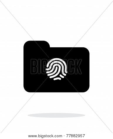 Thumbprint on folder icon on white background.