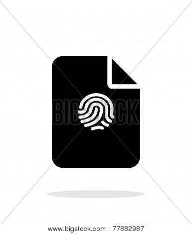 File with fingerprint icon on white background.