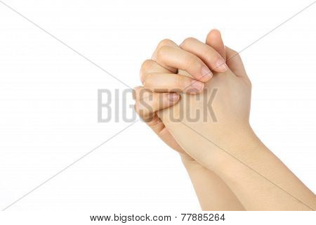 female hands in a folder praying position
