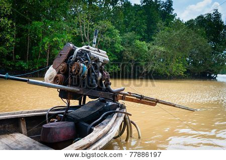 Traditional Longtail Wooden Boat Motor