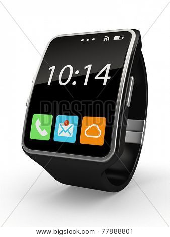Black Smart watch isolated on white background