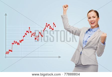 business, success, people and statistics concept - young happy businesswoman with hands up and graph over blue background
