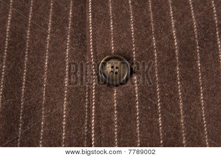Classic Striped Fabric With Close-up Of Brown Button