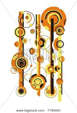 Arrangement of yellow and black stripes and circles