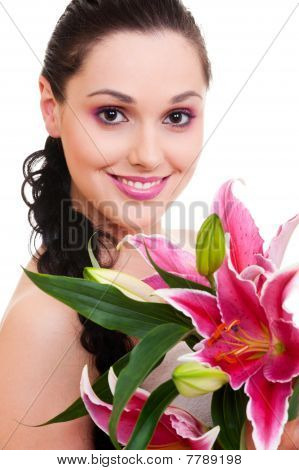 Lovely Woman With Bunch Of Flowers