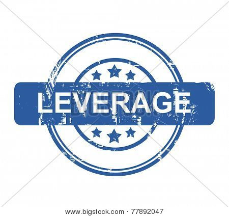 Leverage business concept stamp with stars isolated on a white background.