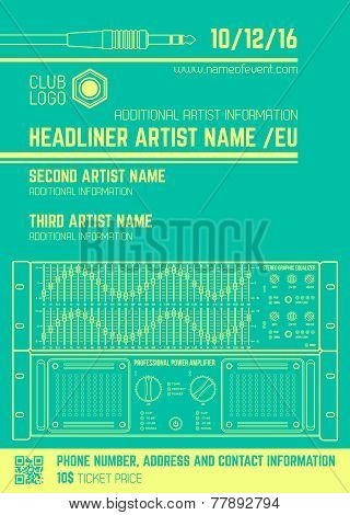 minimal design night party flyer template with sound equipment