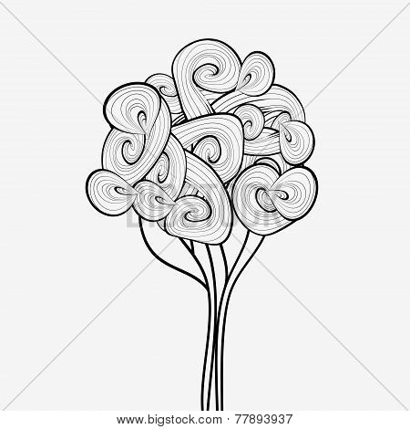Black and white abstract tree. Hand drawn tree symbol. Tree icon