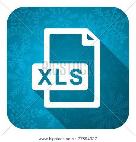 xls file flat icon, christmas button